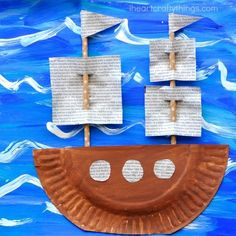 Kids Crafts, Boat Crafts, Summer Crafts, Toddler Crafts, Fall Crafts, Preschool Activities, Craft Projects, Arts And Crafts, Sailboat Craft