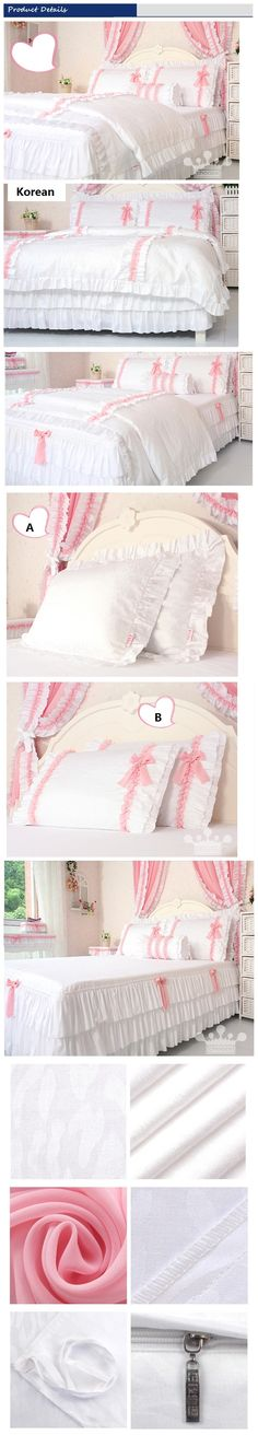 White Pink Lace Ruffled Bedding Set Girls Korean Romantic Duvet Cover Sets Twin Full Queen Size Comforter Sets