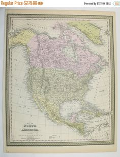 1899 north america map united states canada map mexico central america map caribbean geography art map housewarming gift for couple central america