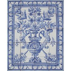 Portuguese Antique Designs Hand Painted Clay Tile Panel Mural ALBARRADA FLOWER