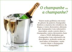 """""""Existe muita polêmica em torno do gênero da palavra champanhe. Embora a maioria dos estudiosos da língua e vários dicionários afirmem que champanhe é um substantivo masculino, sendo correto dizer o champanhe, outros dicionários, bem como o VOLP, defendem que champanhe é um substantivo de dois gêneros, podendo assim ser masculino ou feminino, sendo correto dizer o champanhe ou a champanhe."""""""
