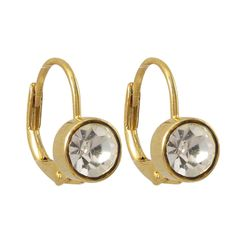 Luxiro Gold Finish Pave Crystals Leverback Earrings