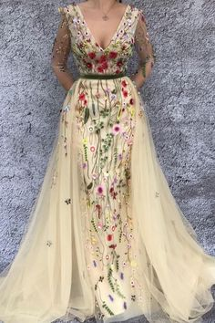glamorous mermaid v-neck long sleeves beige prom dress, chic detachable prom dress with appliques#prom2018