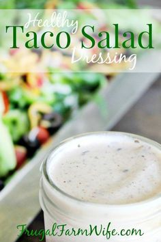 This Taco Salad Dressing Recipe is fabulous! This taco salad dressing is not only delicious and easy to make, it's healthy! This taco salad dressing is not only delicious and easy to make, it's healthy! Mexican Salad Dressings, Mexican Salads, Salad Dressing Recipes, Mexican Food Recipes, Mexican Dressing Recipe, Dressing For Taco Salad, Sour Cream Salad Dressing, Fat Free Salad Dressing Recipe, Healthy Salad Dressings