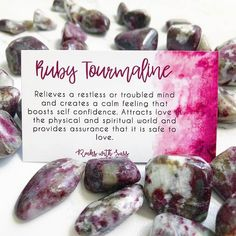 Ruby Tourmaline relieves a restless or troubled mind and creates a calm feeling that boosts self confidence. Attracts love in the physical and spiritual world and provides assurance that it is safe to love 🖤 via Crystal Magic, Crystal Healing Stones, Stones And Crystals, Gem Stones, Healing Rocks, Ruby Crystal, Black Crystals, Quartz Crystal, Minerals And Gemstones