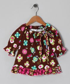 Brown Funtime Peasant Tunic - Toddler & Girls | Daily deals for moms, babies and kids