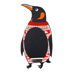 Christmas Gift Guide - A quirky shaped penguin with a festive knitted jumper on - comes with free stick chalk! Priced at Kitchen Blackboard, Blackboard Menu, Chalkboard Decor, Chalkboard Wedding, How To Clean Chalkboard, Jumper Designs, Liquid Chalk Pens, Penguin Images, Chalk Holder