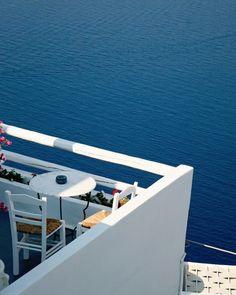 Blue and White Home Decor - Ocean Photography - Vacation Travel Print - Santorini Greece Photo - Cafe Table - Mediterranean Wall Art. $30.00, via Etsy.