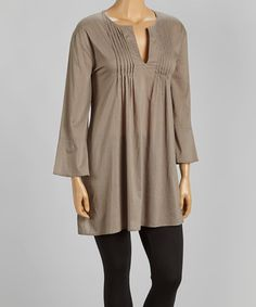 Loving this Brown Pleated Notch Neck Stuart Tunic - Women on #zulily! #zulilyfinds