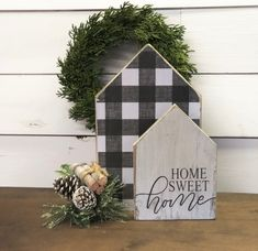 Reversible buffalo check houses home sweet home lets stay Fall Crafts, Home Crafts, Diy And Crafts, Christmas Crafts, Christmas Decorations, Holiday Wood Crafts, Fall Craft Fairs, Christmas Wood, Christmas Signs