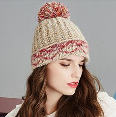 Multi Colors stocking cap for women hairball knit winter hats