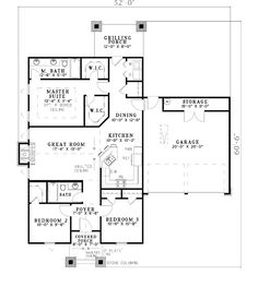 First Floor Plan of Bungalow Cabin Country Craftsman House Plan 62181