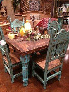 turquoise dining set