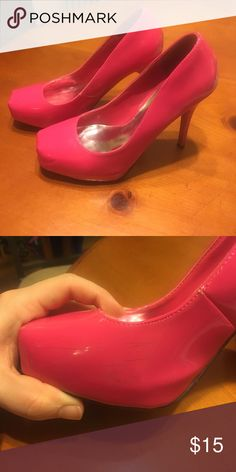 Hot pink pumps with hidden platform. Barbie shoes! Hot pink Barbie-like shoes with hidden platform. Minor scuffs on inner toe area hardly noticeable. I love these shoes, just can't wear heels anymore after a bad ankle sprain. Shoes Heels
