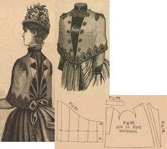 Der Bazar 1886: Summer mantelet with hood from light brown woollen and brown reps lining; 19. front plastron in half size, 20. pelerine-sleeve part, 21. hood in half size, 22. collar in half size