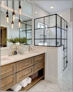 Beautiful master bathroom decor tips. Modern Farmhouse, Rustic Modern, Classic, light and airy bathroom design tips. Bathroom makeover suggestions and master bathroom renovation tips. Lily Ann Cabinets, White Cabinets, Kitchen Cabinets, Wood Cabinets, Shaker Cabinets, Kitchen Counters, Kitchen Islands, Mirror Cabinets, Cupboards