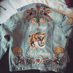 All my wishes made into an embroidered denim jacket #ideas💡
