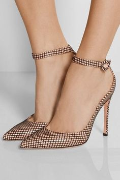 Gianvito Rossi shoes > high heel pumps. Signature beige with a layer of black fishnet. Designed in a classic pointy-toe shape, with pin-thin heel and adjustable ankle straps. Gorgeous!
