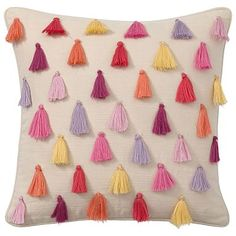 Rainbow Tassel Pillow Covers #pbteen