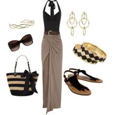 Gray long maxi skirt..great from beach to broad walk look! @JENNY