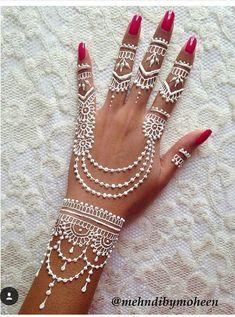 Adorable White Hena Inspiration In Wedding Days - Henna Henna Tattoo Designs, Henna Tattoos, Mehndi Tattoo, Henna Tattoo Muster, White Henna Tattoo, Henna Ink, Simple Henna Tattoo, Tatoos, Bridal Mehndi Designs