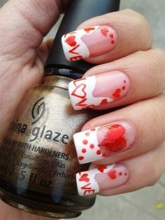 Red LOVE nail art for Valentine Day