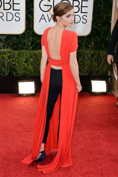 The 24-year-old actress proved to be a daring woman this year, from her gender equality speech at the UN to her red carpet choices. Risk paid off when Watson took a truly modern approach to awards-season dressing at the Golden Globe Awards in a red Dior dress with black trousers underneath.   - HarpersBAZAAR.com