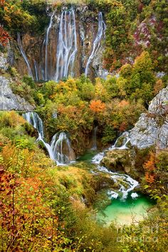 Photo about Waterfalls in a beautiful picturesque autumn scenery of the Plitvice Lakes National Park in Croatia. Image of cascade, scenic, falls - 17194429 Plitvice Lakes National Park, Yellowstone National Park, National Parks, Beautiful Waterfalls, Beautiful Landscapes, Places To Travel, Places To See, Visit Croatia, Croatia Travel