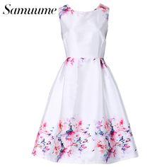 Samuume Elegant Floral Print Embroidery Tank Dress Women 2017 O-Neck Sleeveless High Waist Pleated Midi Dress Vestidos A1611033