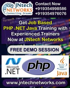 Enroll Now for the PHP.NET JAVA training with highly experienced trainers at the JNtech Networks  The Contact details are provided below: Ph. No. +919354976076, +919354998586 ,+91 7303448909 www.jntechnetworks.com Email: info@jntechnetworks.com Address: A33, Sector 2, Noida