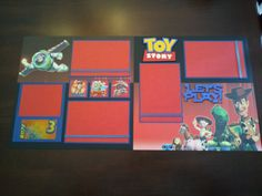 "Disney Pixar Toy Story ""Let's Play"" 12""x12"" Pre-made 2 page Scrapbook Layout for Disneyland Trip"