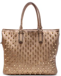 Bellucci Handbag Beige - $79.95 AUD HANDBAG / SPIKES / ZIP TOP CLOSURE / BACK ZIP POCKET / INSIDE TWO ZIP AND TWO OPEN POCKETS / HANDLES 8 INCH / REMOVABLE STRAP / H 14 INCH X W 17 INCH http://www.lecliqueboutique.com/collections/handbags/products/bellucci-handbag-beige-1