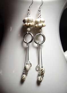 White Bones!  Fabulous, dramatic long bone and silver earrings. by WingedPennyDesigns on Etsy
