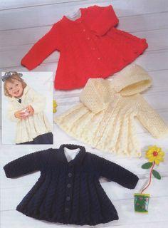 Baby Dressy Cardigan Vintage Knitting Pattern Cabled Hooded Matinee coat Coat cable vest dress skirt aran jumper pullover pdf download