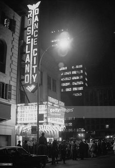 Exterior view of the Roseland Ballroom on the night of the Phoenix House benefit nostalgia party, New York City, June 5, 1972.