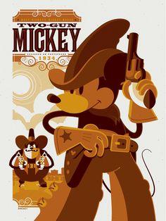 "2011 ""Two-Gun Mickey"" - Silkscreen Movie Poster by Tom Whalen Mickey Mouse, Disney Mickey, Disney Art, Walt Disney, Tom Whalen, Posters Disney Vintage, Betty Boop, Cartoon Posters, Movie Posters"