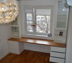 Cabinets around the window are not only beautiful, but also very practical. Ideas for inspiration Related Modern Scandinavian Living Room To Best Interior Design - PinponInspiring Kitchens - Decorating Advice & Trends, DIY Ideas Home Office Space, Home Office Design, Home Office Decor, House Design, Home Decor, Kids Room Design, Spare Room, Small Spaces, Bedroom Decor