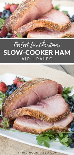 This easy slow-cooker ham is not only Paleo and AIP-compliant but gluten-free and dairy-free and a great main dish for holidays like Easter and Christmas. Paleo Crockpot Recipes, Pork Recipes, Slow Cooker Recipes, Real Food Recipes, Healthy Recipes, Free Recipes, Paleo Meals, Paleo Menu Plan, Dairy Free