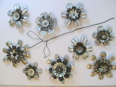 Metal Flowers Made From Vintage Jello Molds
