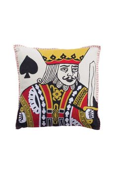 """This detailed King Of Spades is hand stitched and includes his insert.    Measurements:18"""" X 18""""   King Of Spades by Shady And Katie. Home & Gifts - Home Decor - Pillows & Throws Naples, Florida"""