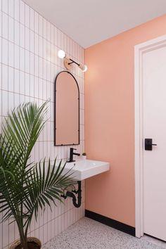 Pastel hues decorate B-Natural Kitchen by Atelier Cho Thompson Pastel Bathroom, White Bathroom Tiles, Bathroom Floor Tiles, White Tiles, Small Bathroom, Basement Bathroom, Pink Tiles, Natural Kitchen, Terrazzo Flooring