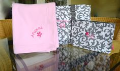 "19"" Gray Damask  Utility Tote, Baby Diaper Bag set, with Large soft Blanket Personalized by StitchedInStyle1 on Etsy"