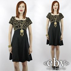 #Vintage #Black + #Gold #Cocktail #Party #Dress XS S by #shopEBV http://etsy.me/1hp098X via @Etsy #etsy #fashion #style #christmas #holiday, $88.00