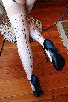 On Dollhouse Bettie: What Katie Did Contrast Dot Seamed Stockings