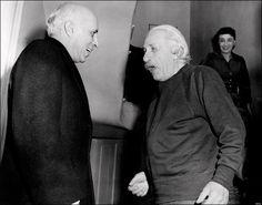 Jawaharlal Nehru meeting Albert Einstein at Princeton, USA, 1949