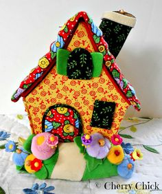 Mary Engelbreit Cottage Pincushion with decorative flowers pins by Decorative Sewing Pins on Etsy <3 <3 for sale