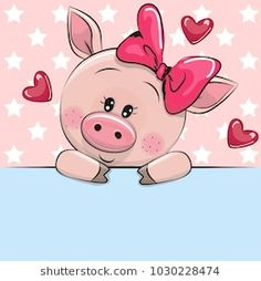 Greeting card cute Cartoon Pig is holding a placard on a stars background