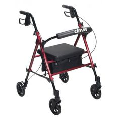"""Aluminum Rollator with Adjustable Seat Height -   Universal height adjustment on frame allows seat height to be adjusted from 18"""" to 22"""" in 1"""" increments. Comes with new seamless padded seat with zippered pouch under seat. Removable hinged padded back rest can be folded up or down Comes with standard carry pouch under the seat for added privacy and security of personal items. Easy to use deluxe loop locks Serrated brakes. Ergonomic handles are easy to grip and are adjustable in height."""
