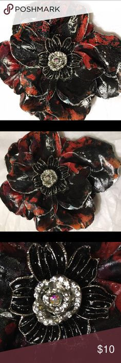 Large Flower paper mache original signed pin Large Flower paper mache original signed pin painted red and black with Swarovski crystals in the center Jewelry Brooches