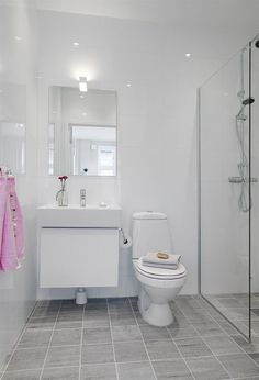 simple bathroom, white & light gray